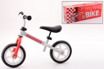 Loopfiets staal wit/rood